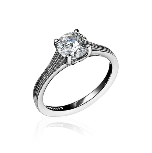 14K White Gold Fern Finish Solitaire Engagement Ring