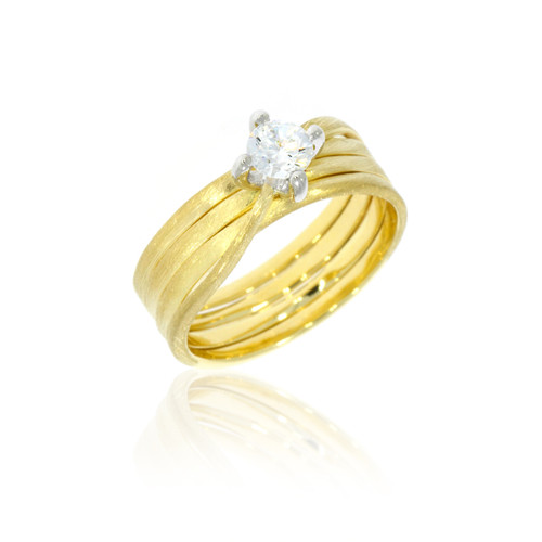 18K Yellow Gold Textured Twist Engagement Ring