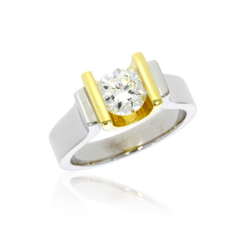 18K White and Yellow Gold Unity Engagement Ring