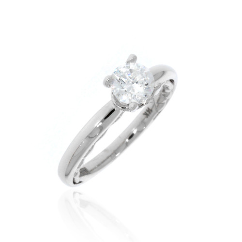 14K White Gold Surprise Diamond Engagement Ring with Diamond Accents