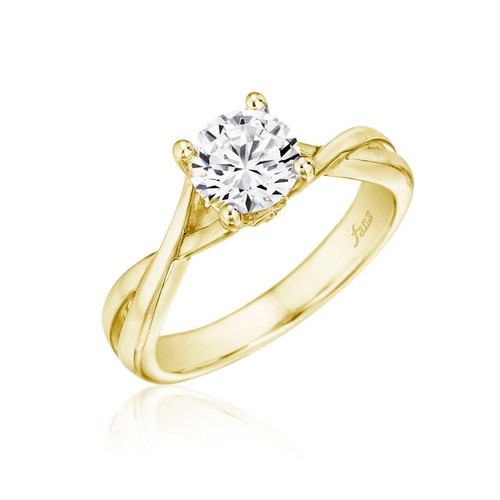 14K Yellow Gold Engagement Ring with Diamond Accents