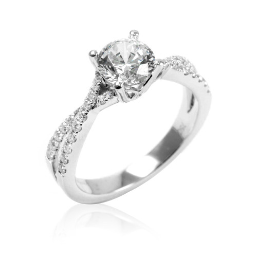 18K White Gold Twist Engagement Ring With Diamond Accents