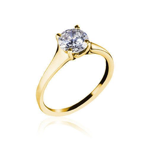 18K Yellow Gold Contemporary Solitaire Engagement Ring