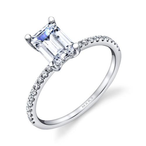 14K White Gold Delicate Engagement Ring With Diamond Accents