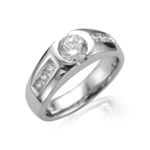 18K White Gold Men's Ring with Diamond Accents