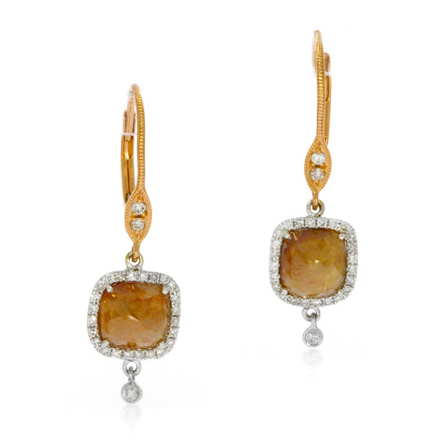 14K Rose Gold Rose-Cut Caramel Diamond Earrings With Diamond Accents