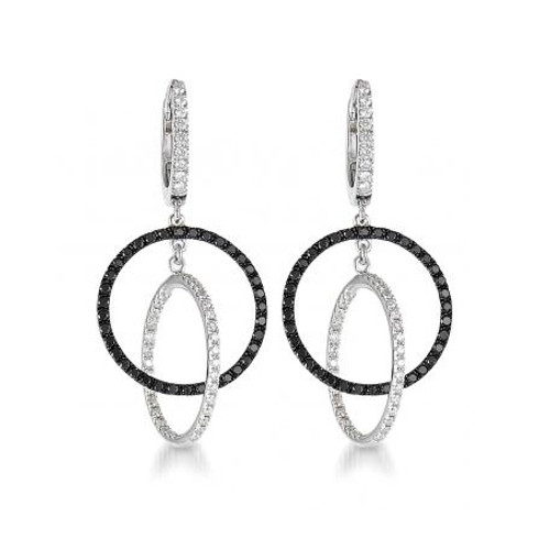 18K White Gold and Black and White Diamond Earrings