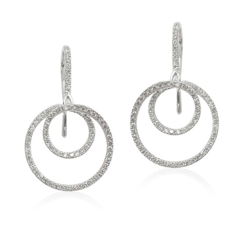 18K White Gold Mini Twirl Diamond Earrings