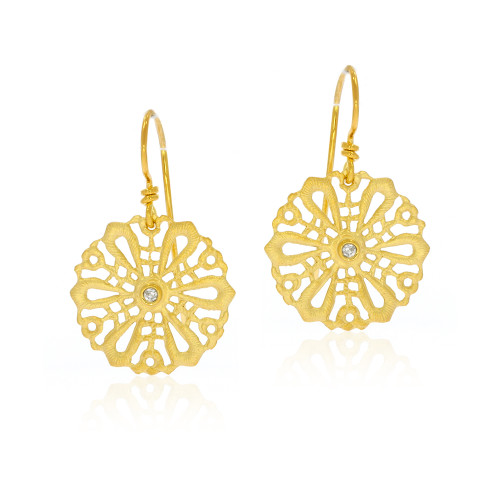 14K Yellow Gold Round Filigree Earrings With Diamond Accents