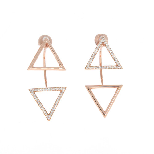 18K Rose Gold Geometric Triangle Ear Jackets With Diamond Accents