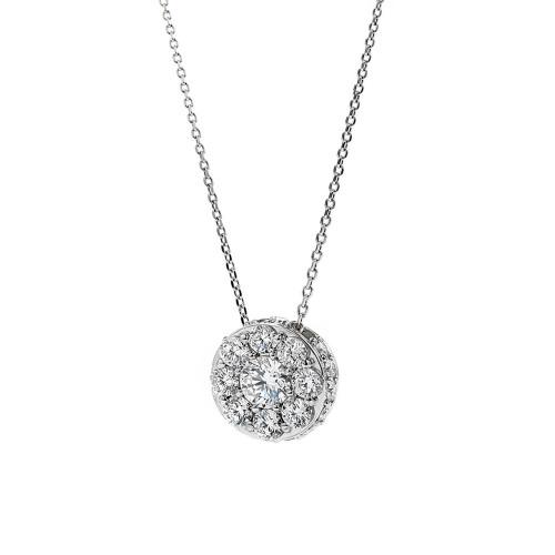 18K White Gold Medium Diamond Cluster Pendant
