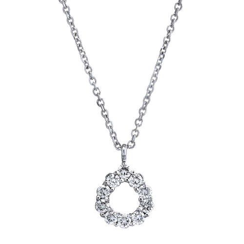 18K White Gold and Diamond Teardrop Pendant