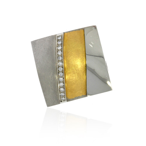 Platinum and 18K Yellow Gold Puffy Square Striped Vario Kep Clasp With Diamond Accents