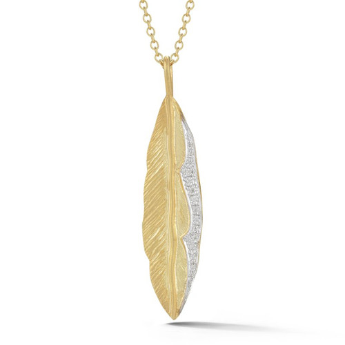 14K Yellow and White Gold Feather Pendant With Diamond Accents