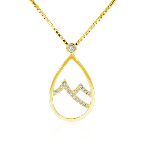 18K Yellow Gold Tear Drop Shaped Mountain Pendant With Diamond Accents