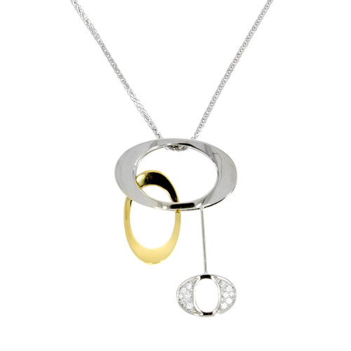 18K Yellow and White Gold Triple Oval Diamond Pendant
