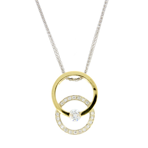 18K Yellow and White Gold Double Circle Pendant With Diamond Accents