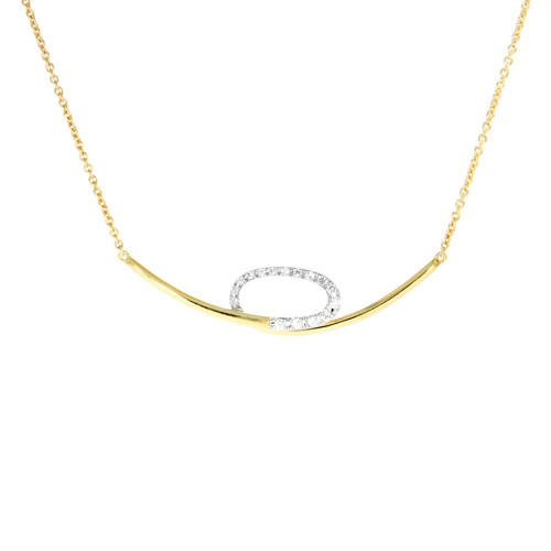 14K Yellow and White Gold Loop Necklace With Diamond Accents
