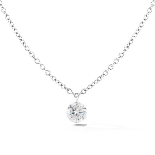 18K White Gold Necklace with Diamond Accents