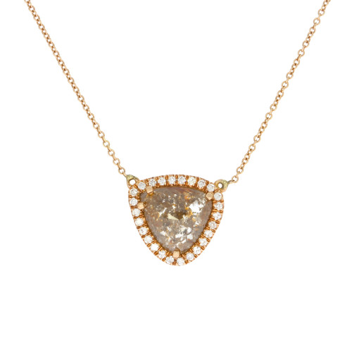 14K Rose Gold Rose Cut Triangular Brown Diamond Necklace Diamond Halo Accents