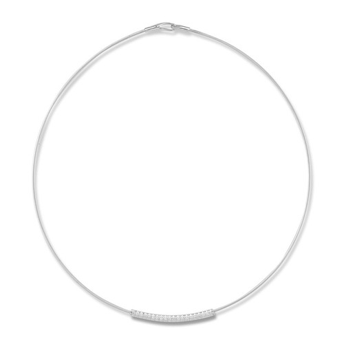 14K White Gold Flexible Wire Necklace With Diamond Accented Sliding Bar Station