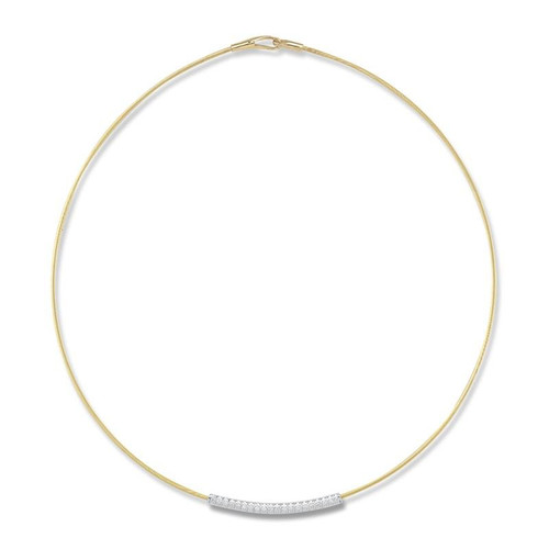 """14K Yellow Gold 17"""" Super Flexible Necklace With a Sliding White Gold Bar Pendant With Diamond Accents"""