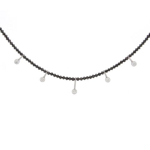 14K White Gold Black Diamond Bead Necklace With Diamond Accents