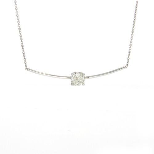 14K White Gold Curved Bar Necklace Cushion Cut Diamond Center