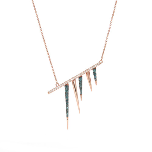 18K Rose Gold Contemporary Spike Necklace With Diamond and Blue Diamond Accents