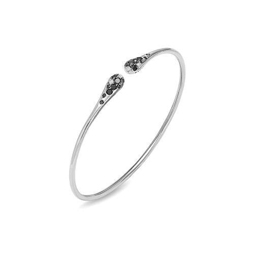 18K White Gold and Black and White Diamond Flexible Bracelet
