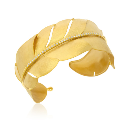14K Yellow Gold Feather Cuff Bracelet With Diamond Accents