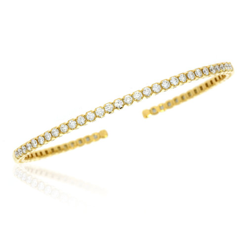 18K Yellow Gold Flexible Cuff Bracelet with Diamond Accents