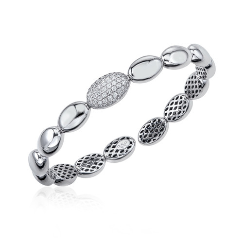 18K White Gold Flexible Ovals Bracelet With Diamond Accents