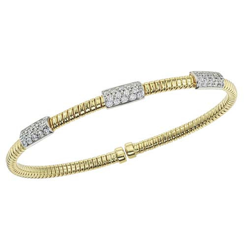 18K Yellow and White Gold Flexible Diamond Pavé Station Bracelet