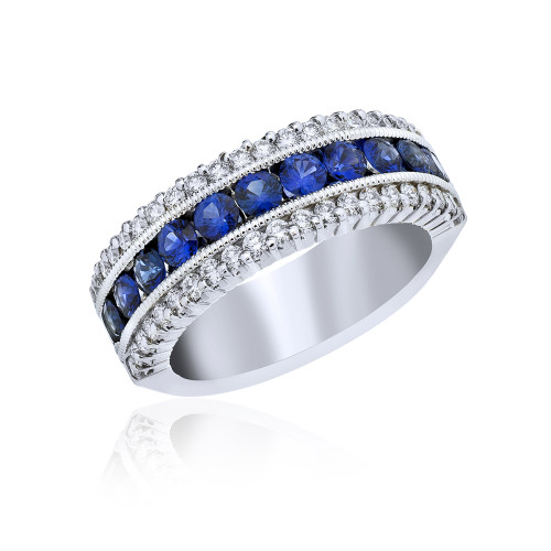 18K White Gold and Sapphire Ring with Diamond Accents