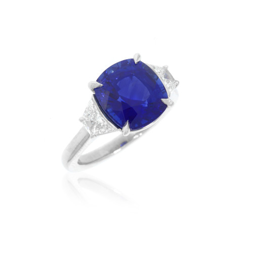 Platinum Cushion Blue Sapphire and Trapezoid Diamond Ring