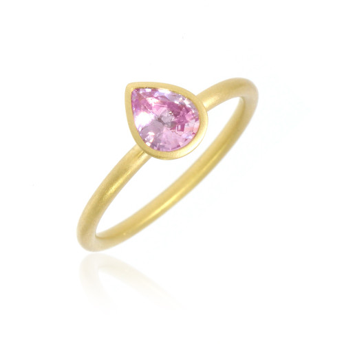 18K Yellow Gold and Pear Shape Pink Sapphire Yumdrop Ring