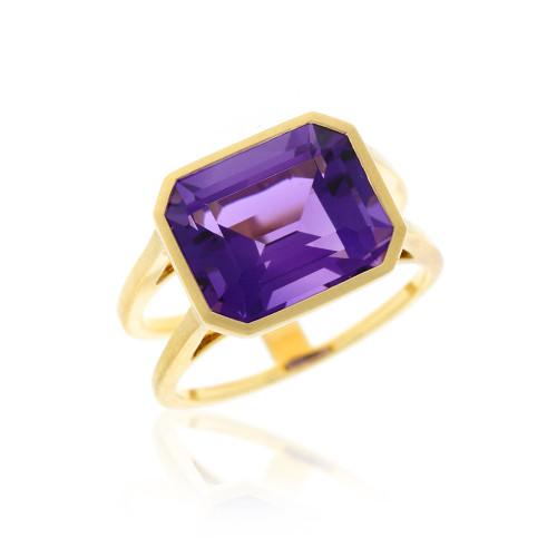 18K Yellow Gold Emerald-Cut Amethyst Ring