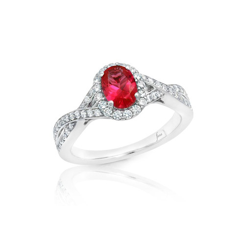 14K White Gold and Ruby Halo Ring with Diamond Accents