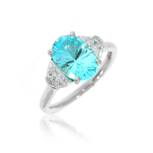 18K White Gold Oval African Cuprian Tourmaline Ring With Diamond and Brazilian Paraiba Tourmaline Accents