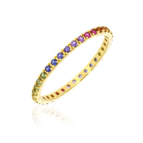 18K Yellow Gold Rainbow Sapphire Eternity Ring