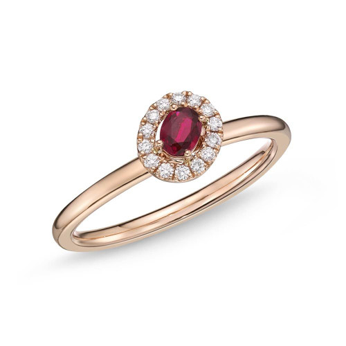 18K Rose Gold and Ruby Stackable Halo Ring with Diamond Accents