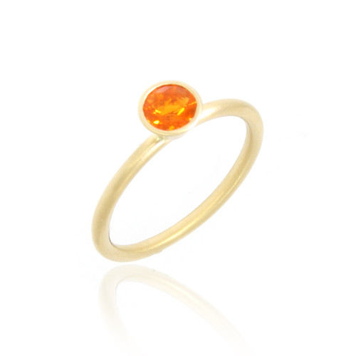 18K Yellow Gold Round Fire Opal Yumdrop Ring