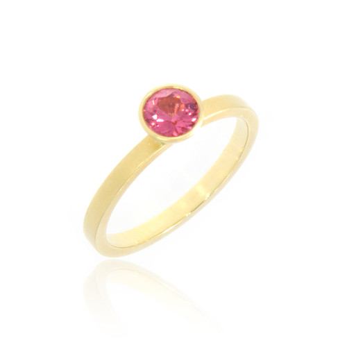 18K Yellow Gold Round Pink Spinel Yumdrop Ring