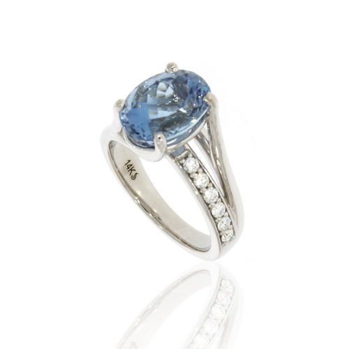 14K White Gold Aquamarine Ring With Diamond Accents