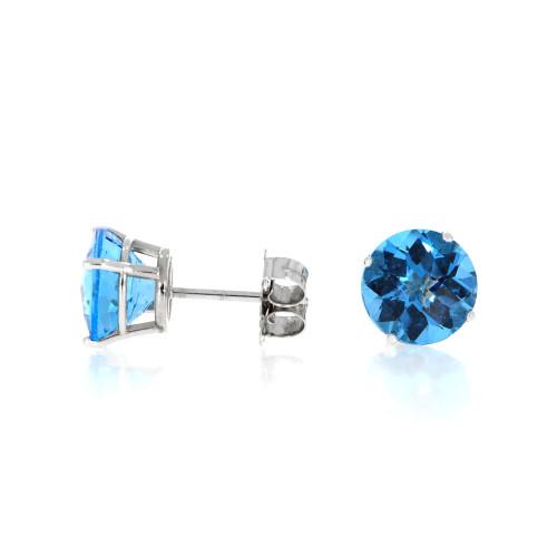 14K White Gold and Blue Topaz Stud Earrings