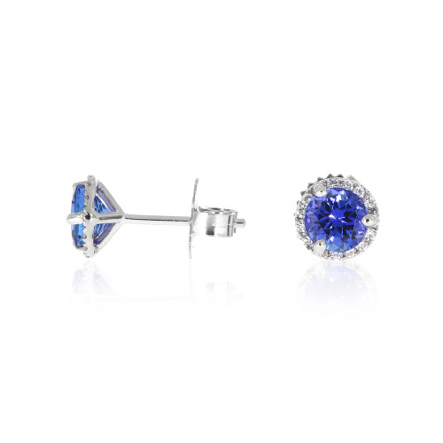 14K White Gold Blue Sapphire Earrings With Diamond Halo Accents