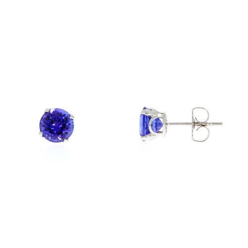 14K White Gold and Tanzanite Solitaire Earrings