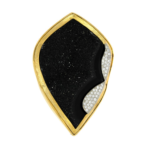 18K Yellow Gold, Platinum and Stainless Steel Onyx Drusy Centerpiece Clasp With Diamond Accents