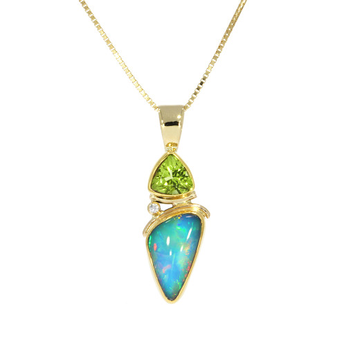 22K Yellow Gold Free Form Ethiopian Opal and Trillion Peridot Pendant With Diamond Accent